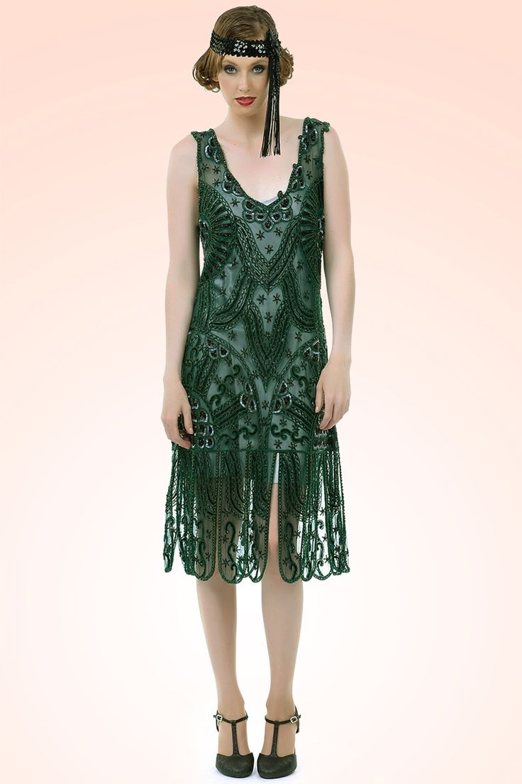 20s royal flapper dress in emerald green things i want 1920er stil 50er jahre kleidung und