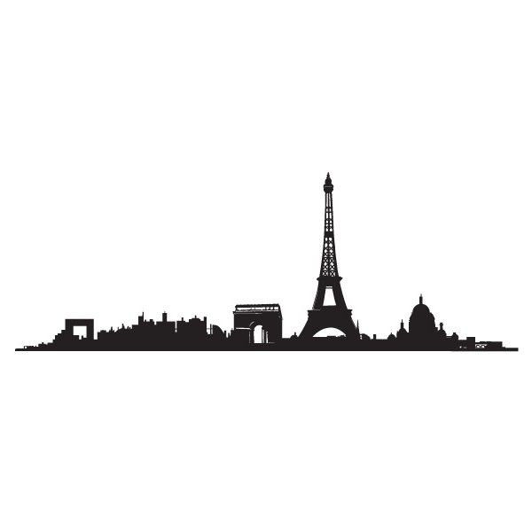 Paris Skyline Wall Tattoo ❤ liked on Polyvore featuring fillers, backgrounds, doodles, effects, drawings, borders i picture frame