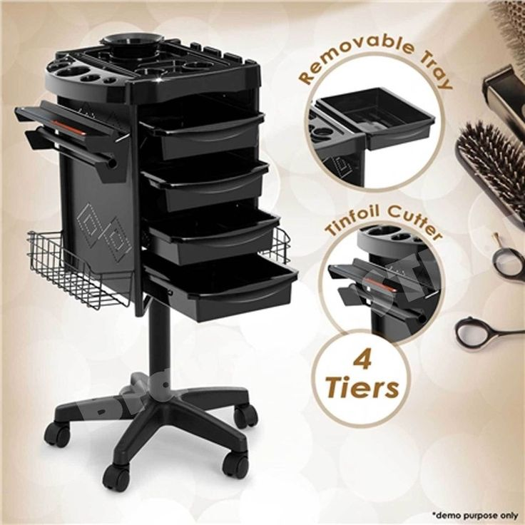 Beauty Spa Hairdresser Coloring Hair Salon Trolley Rolling Storage Cart 4 Tier