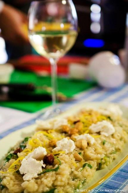Lemon Risotto with Ricotta & Roasted Hazelnuts- I subbed pep Romano, arugula, and Marcona almonds! So good!!