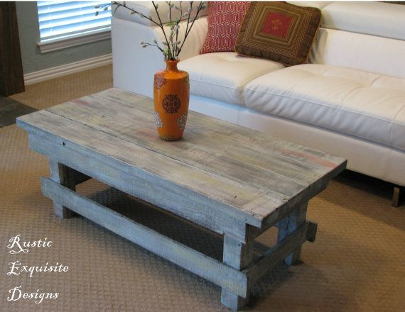 Rustic Coffee Table With Distressed Color By