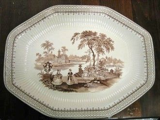 Huge Brown Toile Transferware Victorian Ladies Exotic Octagonal Platter