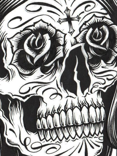 Skull Gangster Tattoo Drawings | VIRGIN SKULL: PEN AND INK
