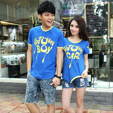 2014 spring and summer lovers couple new short-sleeved T-shirts for men and women strapless asymmetrical | See more about Couple, T Shirts and Spring.