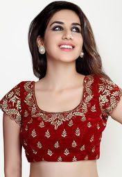 Salwar Studio brings to you this stylish red coloured blouse, which can be clubbed with a wide range of cotton and printed sarees.