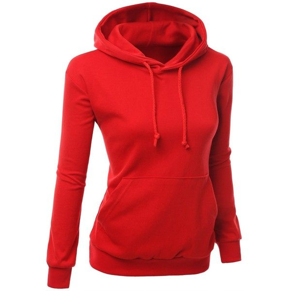 Xpril Women's Colorful and Comfortable Simple design Hoodie Shirt (270 MXN) ❤ liked on Polyvore featuring tops, hoodies, multi color shirt, red hoodie, colorful hoodies, multi colored shirt and red hoodies