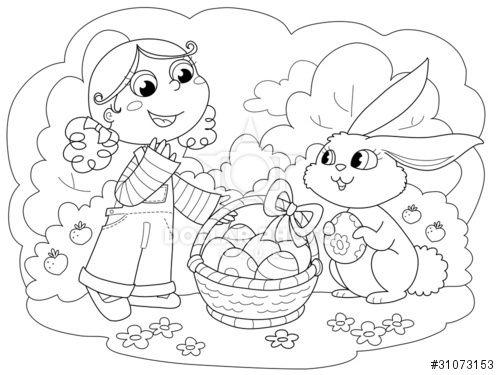 Bambina e coniglio di Pasqua con uova, illustrazione da colorare