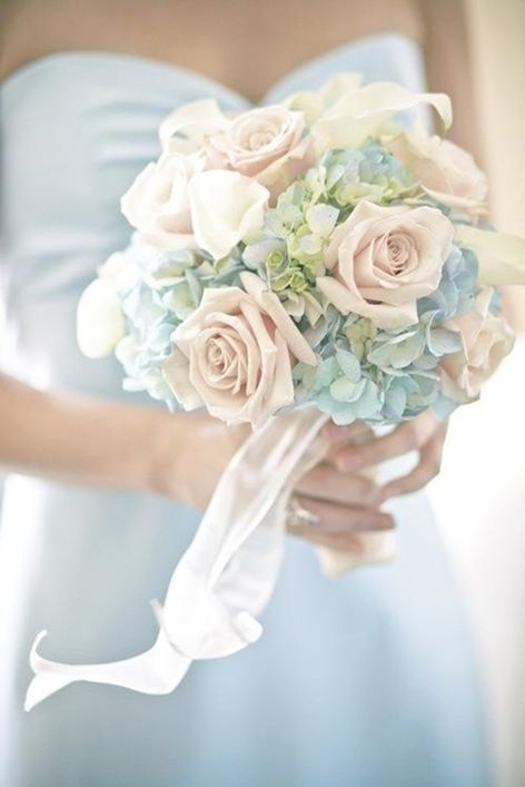 pale blue hydrangea and rose bouquet