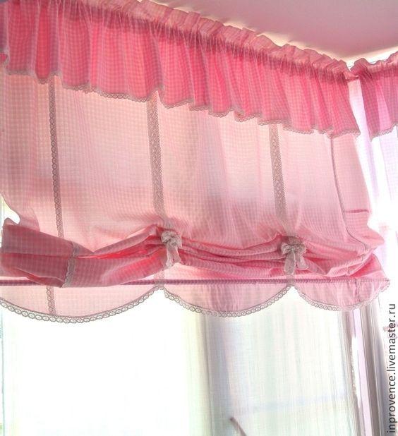 Купить Шторы австрийские в детскую для девочки в стиле Прованс и Шебби Шик - розовые шторы: