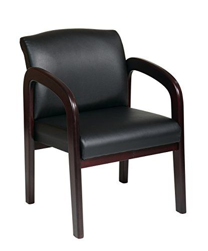 Office Star Work Smart Faux Leather Guest Chair With Mahogany Finish, 33 X  X 25 Mahogany Frame, Black Fabric