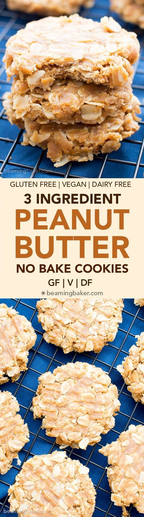 3 Ingredient No Bake Peanut Butter Oatmeal Cookies (V, GF, DF): a one bowl recipe for deliciously soft and chewy peanut butter cookies bursting with oats.
