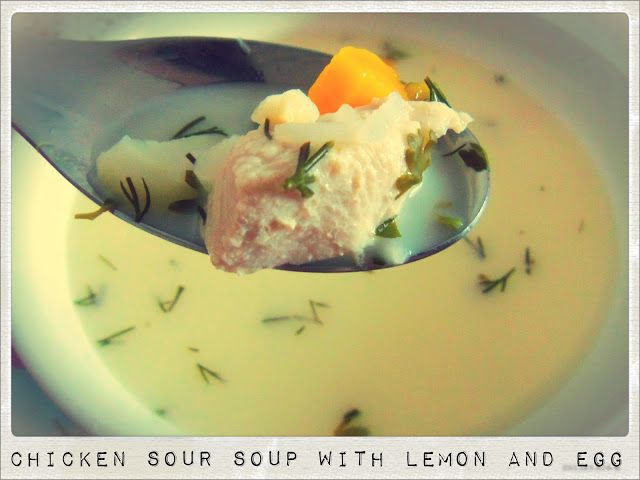 Greek Sour Soup with Lemon, Egg and Cream