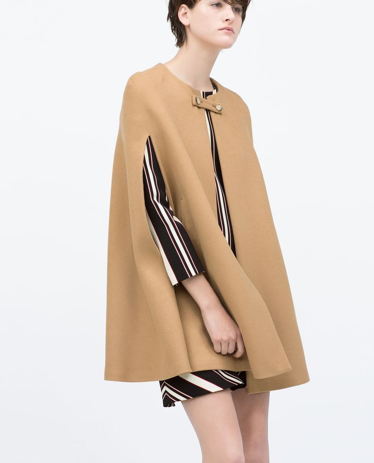 BUTTONED CAPE COAT-Outerwear-Woman-COLLECTION SS15 | ZARA United States | Outfits | Pinterest ...