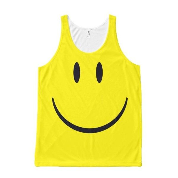 Smiley Face All-Over-Print Tank Top (54 CAD) ❤ liked on Polyvore featuring tops, yellow top, all over print tank top, yellow tank top and yellow tank