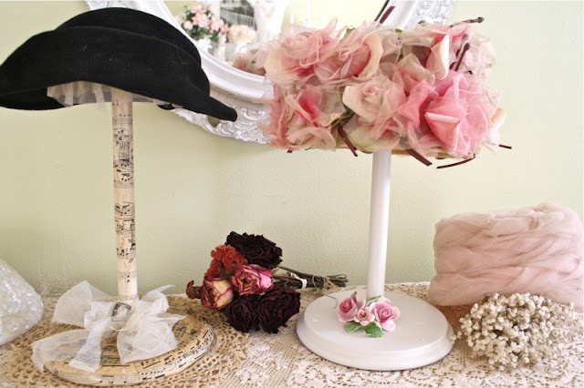 Making a hat stand out of a formerly ugly paper towel holder (with tutorial)(from The Polka Dot Closet)