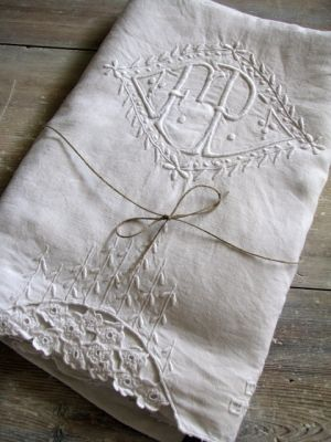 French Linen Monogrammed Sheet