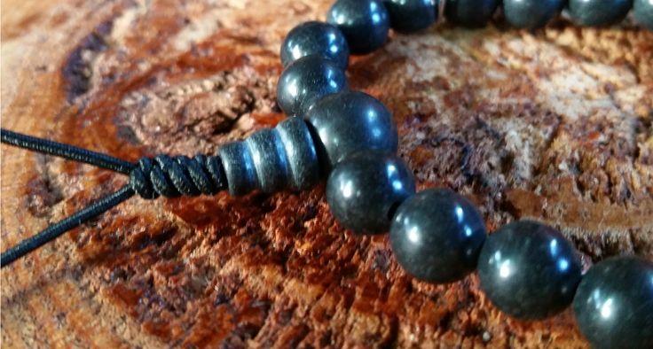 Mármore Preto - Pedra Natural - Mala de Mão 21 Contas - Rosário Budista