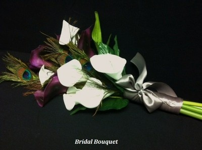 Reserved Peacock Feather Calla Lily Roses Bridal Bouquet Silk Flower Package | eBay