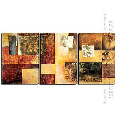 Home Decor   Wall Art   Oil Paintings   Abstract Paintings   Hand Painted  Abstract Oil Painting With Stretched Frame   Set Of 3