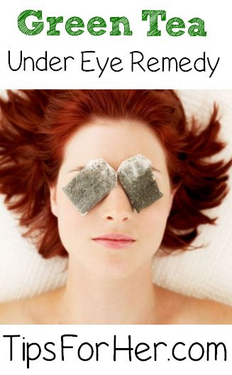 Puffy Eye Remedy - Don't throw away those green tea bags! Re-use them for a simple eye trick to reduce puffy eyes and dark circles.