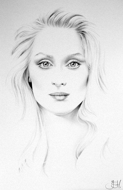 Meryl Streep arte firmado dibujo a lápiz de impresión