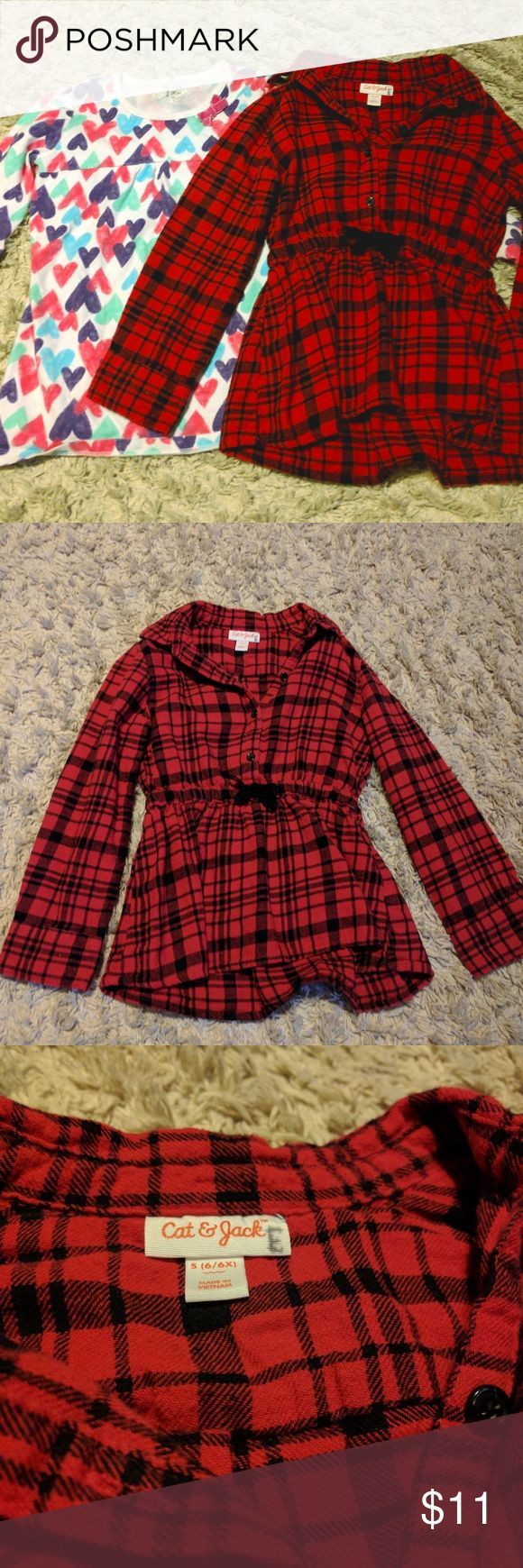"Girls Long Sleeve - 2 pack! Size 6X Perfect for fall/winter. Two girls long sleeve shirts. Both shirts are in great condition. No stains, tears, etc.   Plaid shirt cinches in at the waist and has a cute velvet bow.   Heart print shirt has a pink bow at the neckline.   NOTE: Both shirts have an ""E"" on them specifying which household they belonged to. It does not show on the outside of the shirt. Cat and Jack Shirts & Tops Tees - Long Sleeve"