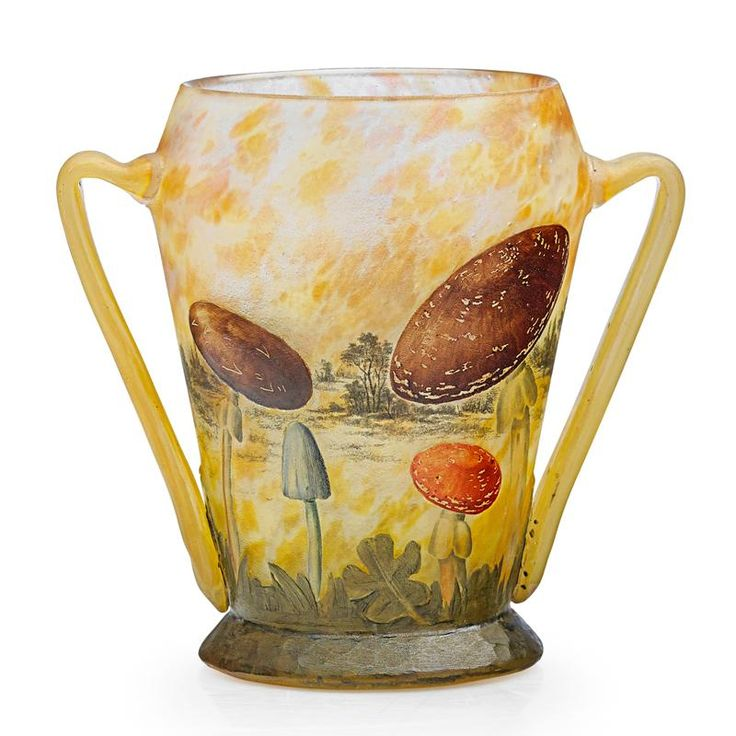 """DAUM - Exceptional vase with mushrooms, France, ca. 1900  Acid-etched and enameled internally decorated glass  Etched signature to base  6"""" x 6 1/2"""". Provenance: Private collection, Montana. Tiny polished chip to rim, one burst bubble to one handle. USD 9375"""