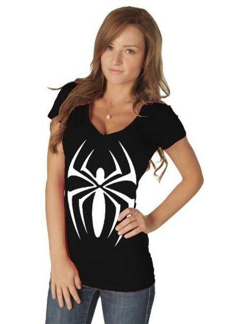 Spider Girl V-neck Costume T-shirt