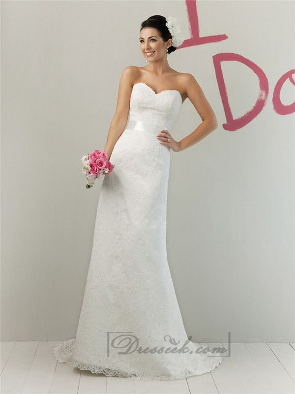 Impression Strapless A-line Sweetheart Modified Lace Wedding Dresses