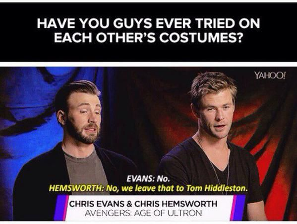 Tom Hiddleston, Chris Evans, Chris Hemsworth. Via Twitter.