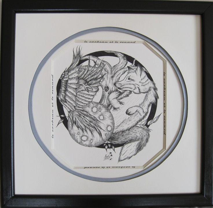 dessin n°20 de Loïc (Artisanat) par Mad le corbeau et le renard : biseau anglais autour du dessin, puis cercle argenté pour rappeler la forme de l'oeuf