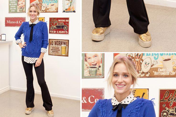 Brenda Gandini fue a la presentación de la colección de invierno de Mimo con un look canchero y relajado. ¿Usarías un moñito al cuello como Brenda?. Foto: Mass PR