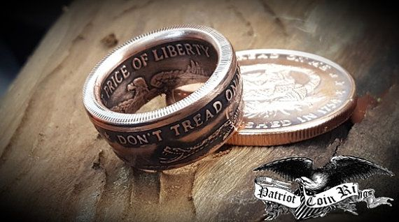 "1754 Don't Tread On Me, The Price Of Liberty Handcrafted 1oz Copper Coin Ring ""For Sale"" on ETSY made by www.PatriotCoinRings.com (photos © )"