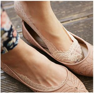 Rubber lined lace no show socks. Perfect for ballet flats and low cut shoes. $9.75