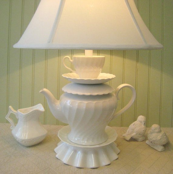 Teapot Lamp, White Swirled Pattern Teapot, Tea Cup and Saucer, Alice in Wonderland Shabby Chic Country Beach Cottage  $92 on etsy