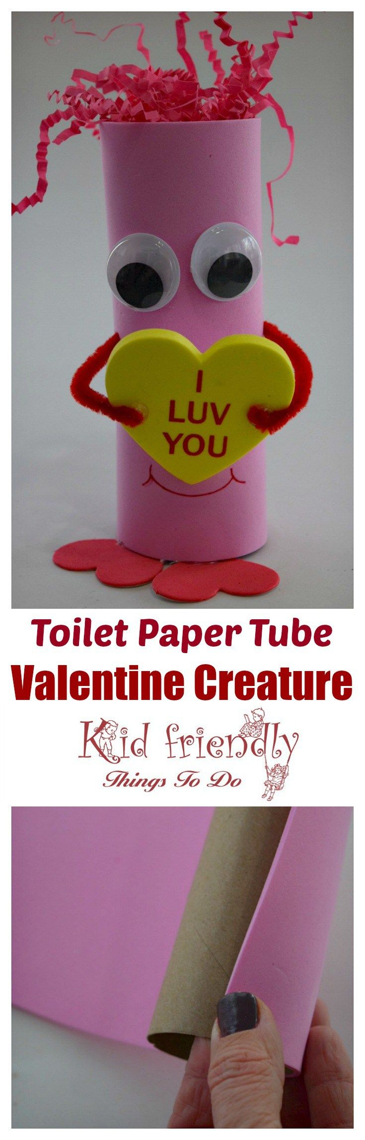 Look at this easy and  adorable Valentine Creature! Perfect for preschool kids and elementary school Valentine's Day party craft. You can get everything at the Dollar Store! www.kidfriendlythingstodo.com