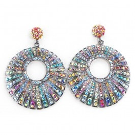 These dramatic, oversized earrings are pave set with multicoloured crystals in graduating sizes for incredible sparkle.