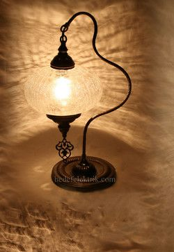 Turkish Style Brass Table Lamp - mediterranean - table lamps - Hedef Aydınlatma