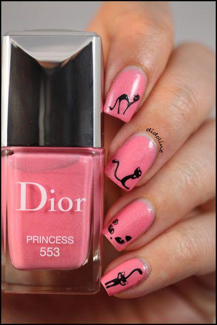 Pink Cats #nails #nailart