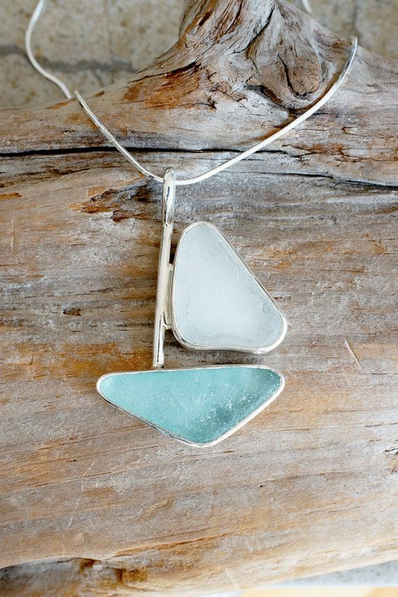 Seaglass Sailboat Pendant Handcrafted by WatchHillSeaglassCo