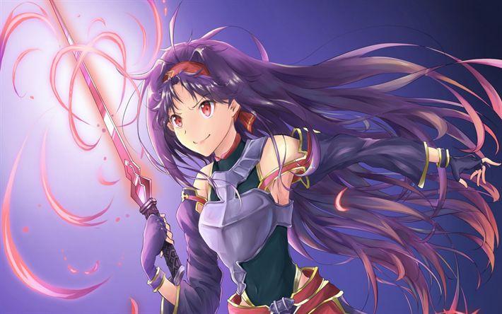 Download wallpapers Sword Art Online, Yuuki, Gun Gale Online, GGO, SAO, light novel