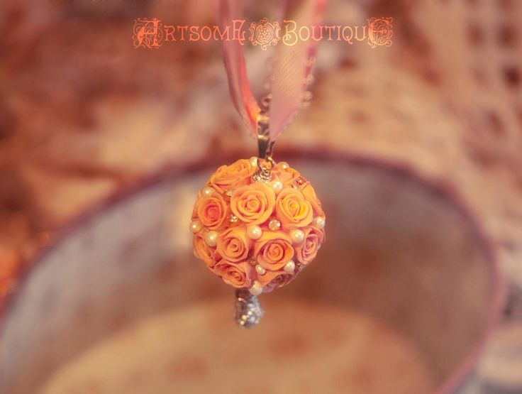 Kissing Ball Pendant, Rose ball, Bridesmaid Gift, Gift for Her, Shades of pink, Mother's day gift, Botanical Jewelry, Wedding Necklace by ArtsomeBoutique on Etsy