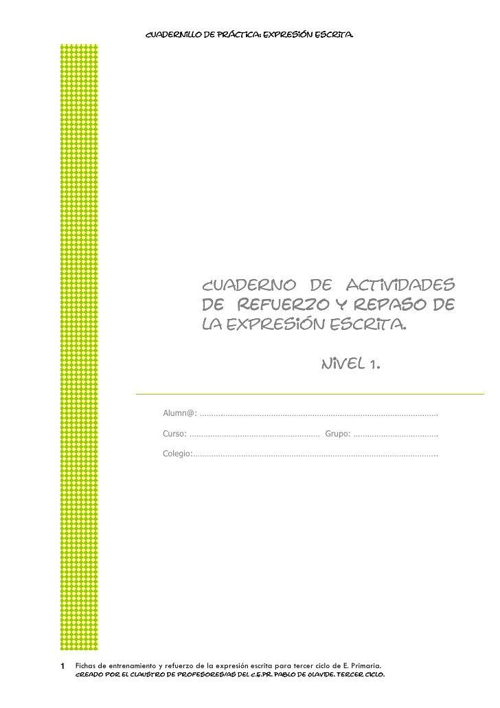 fichas para la expresión escrita en castellano