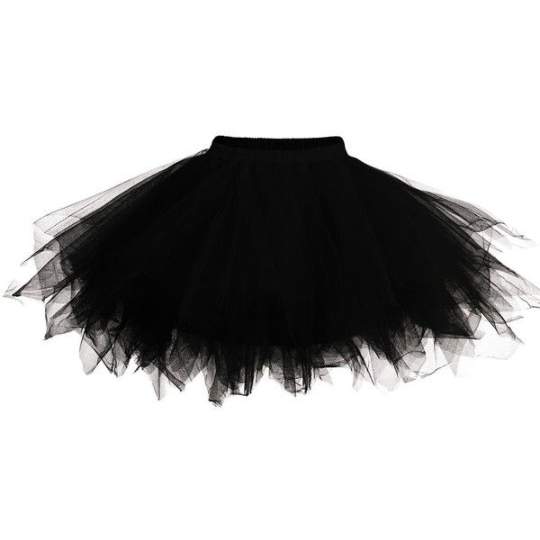 DJT Womens Mini Tutu Skirt with Multi-layer Frilly Petticoat (376950 BYR) ❤ liked on Polyvore featuring skirts, mini skirts, black flounce skirt, black layered skirt, layered tutu, ruffle mini skirt and petticoat tutu