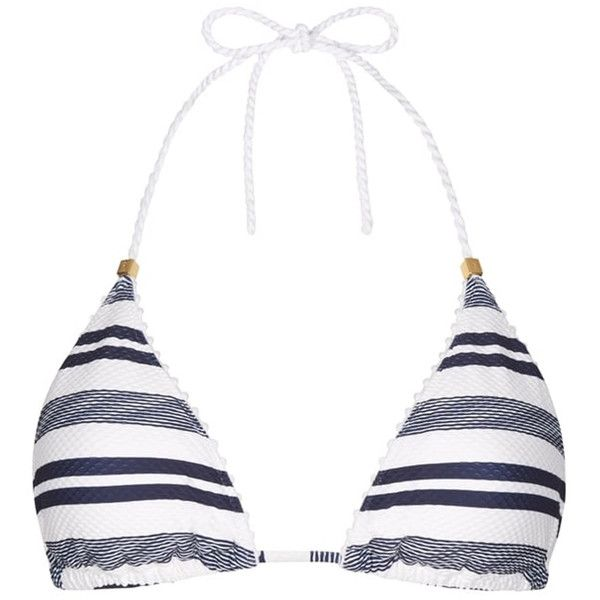 HEIDI KLEIN Marthas Vineyard Rope Triangle Bikini Top - Stripe ($120) ❤ liked on Polyvore featuring swimwear, bikinis, bikini tops, stripe, triangle bikinis, swimsuit tops, halter top, swim tops and tankini tops