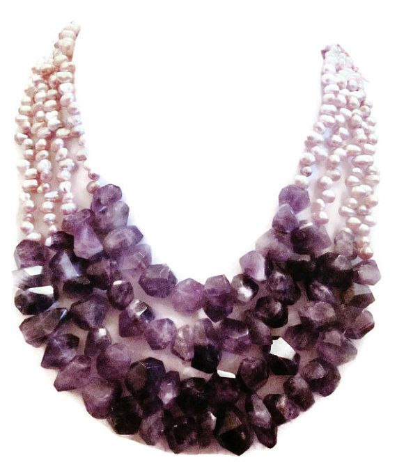 Large Amethyst Faceted Nugget Freshwater Pearl Layered Multi Strand Chunky Statement Necklace