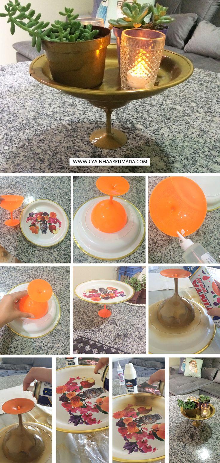 Transformando achados de R$1,99 em decoração: centro de mesa ou porta objetos feito com pratinho e taça de sobremesa!