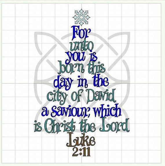 Christmas Word Trees Bible Verse Luke 2:11 Cut Files MTC & SVG