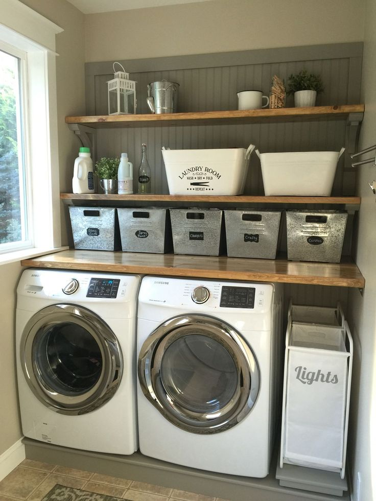 Attractive This Just Might Work In Our Laundry Room   Laundry Room Makeover. Wood  Counters, Walmart Tin Totes, Pull Out Laundry Bins.