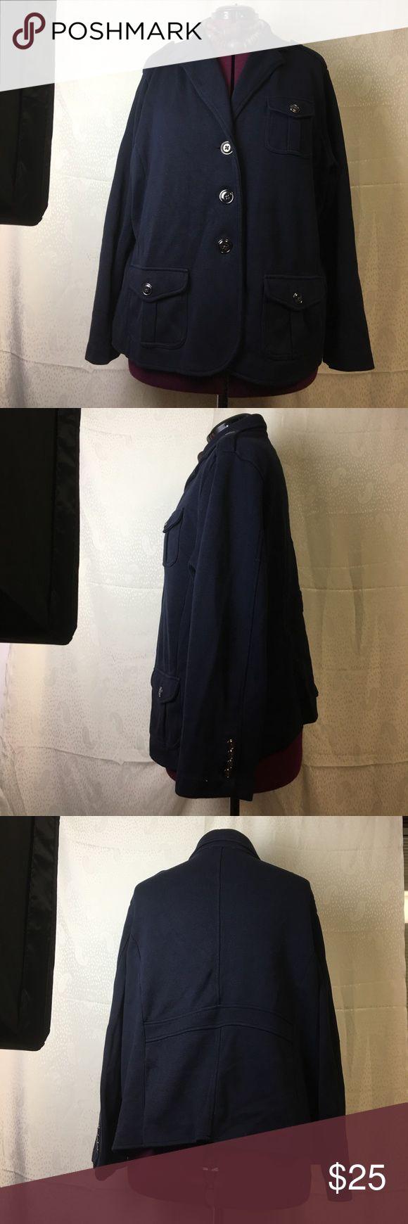 3x Talbots Woman military style blazer navy 3x Talbots Woman military style blazer navy  4 functional pockets 100% cotton Talbots Jackets & Coats Blazers